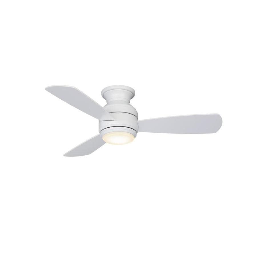 Shop fanimation studio collection level 44 in matte white led indoor fanimation studio collection level 44 in matte white led indoor flush mount ceiling fan with aloadofball Gallery