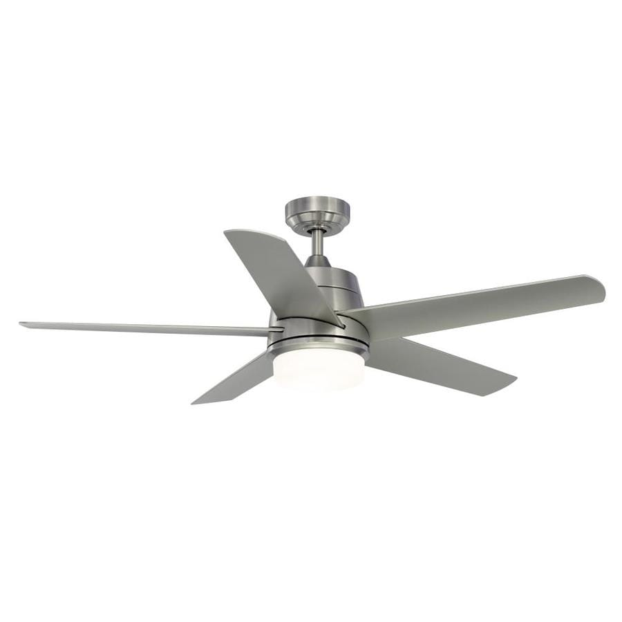 Fanimation Studio Collection Berlin 52-in Brushed Nickel Indoor/Outdoor Downrod Mount Ceiling Fan with Light Kit