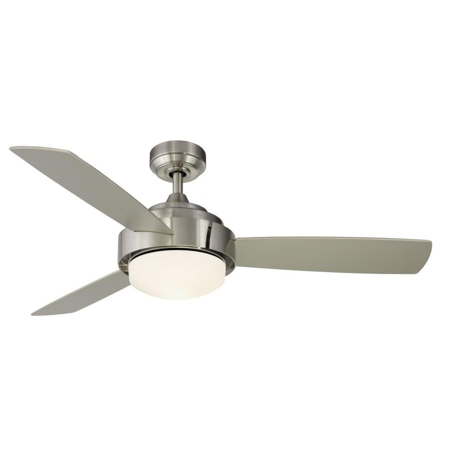 Fanimation Studio Collection Coop 52-in Brushed Nickel Indoor Downrod Mount Ceiling Fan with Light Kit and Remote (3-Blade)