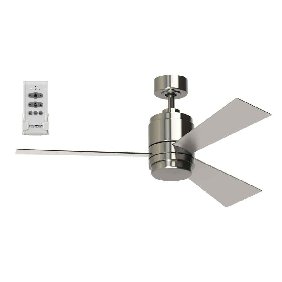 Fanimation Studio Collection Pylon 48-in Brushed Nickel Downrod Mount Indoor Residential Ceiling Fan with LED Light Kit and Remote Control