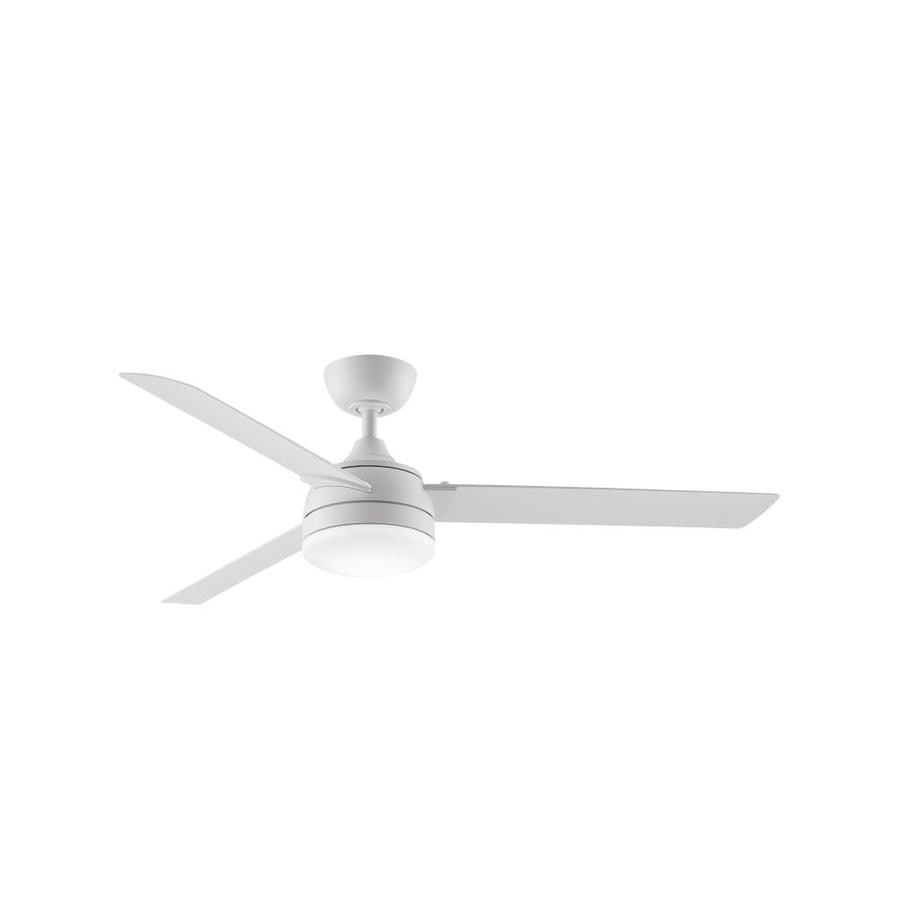 Fanimation Xeno Wet 56 In Matte White Led Indoor Outdoor Downrod Ceiling Fan With Light Kit 3 Blade