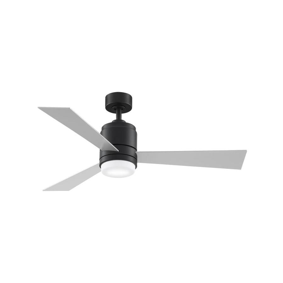 Fanimation Studio Collection Pylon 48-in Matte Black Integrated LED Indoor Downrod Mount Ceiling Fan with Light Kit and Remote (3-Blade)