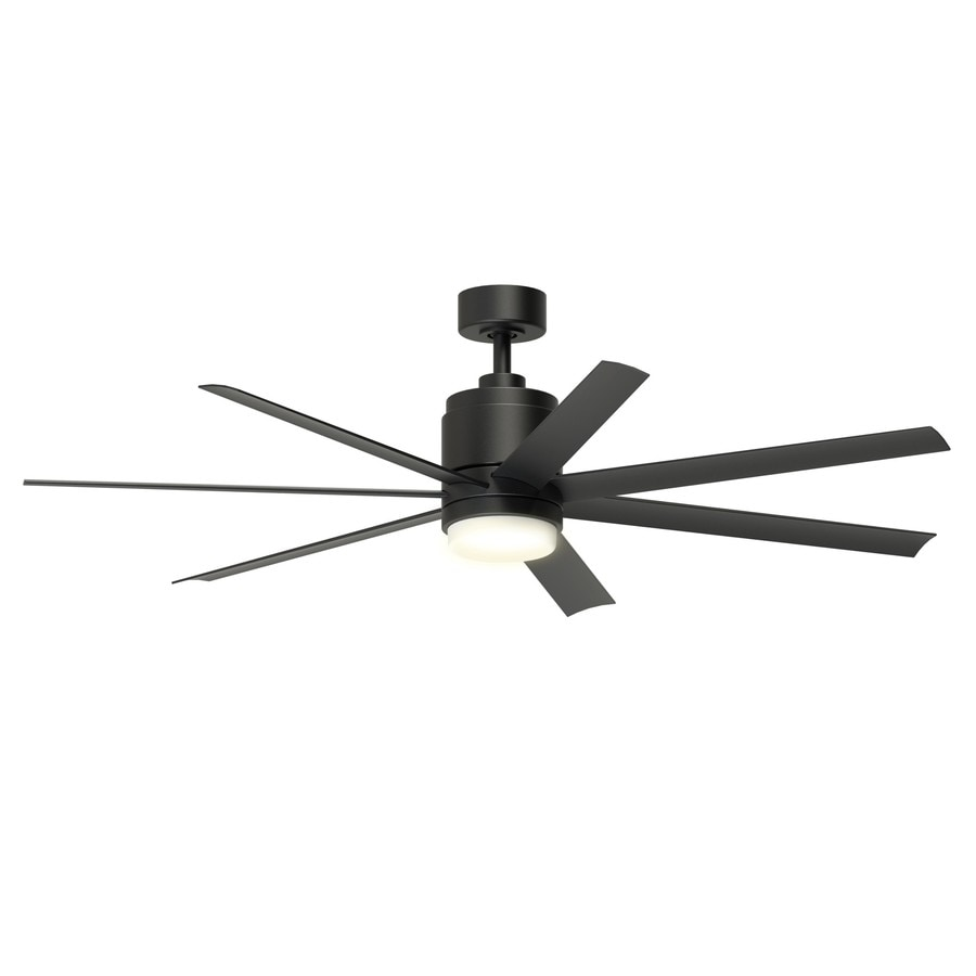 Fanimation Studio Collection Blitz 56 In Black LED Indoor/Outdoor Downrod  Mount Ceiling Fan