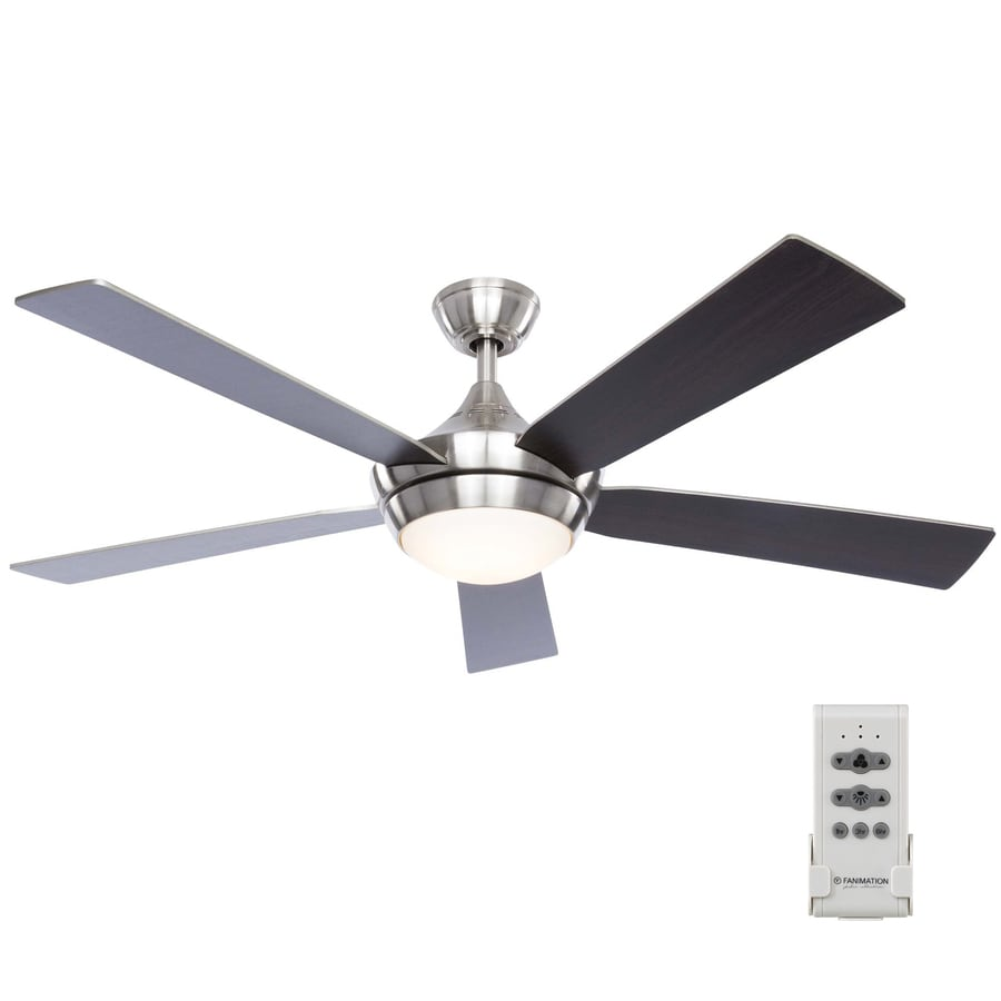 Fanimation Studio Collection Aire Drop 52 In Brushed Nickel Led Indoor Downrod Ceiling Fan With Light Kit And Remote 5 Blade