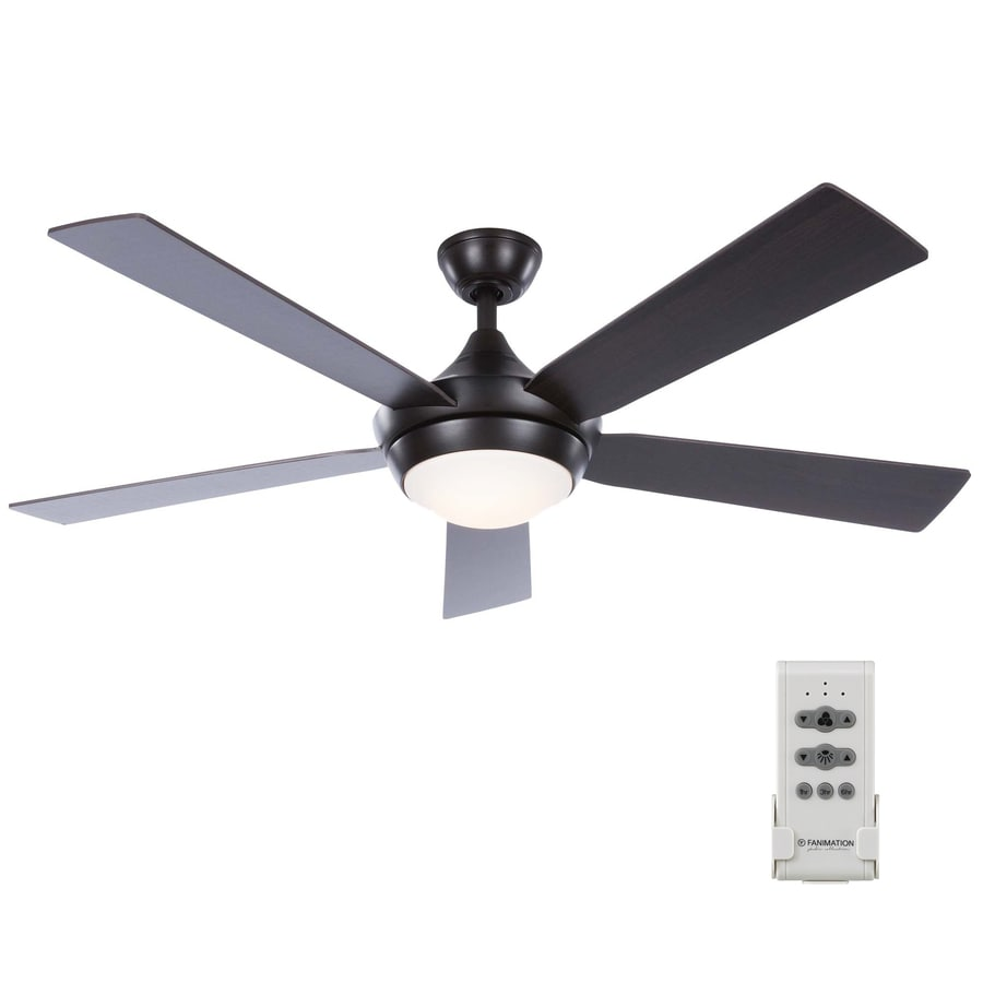 Fanimation Studio Collection Aire Drop 52 In Aged Bronze Led Indoor Ceiling Fan With Light