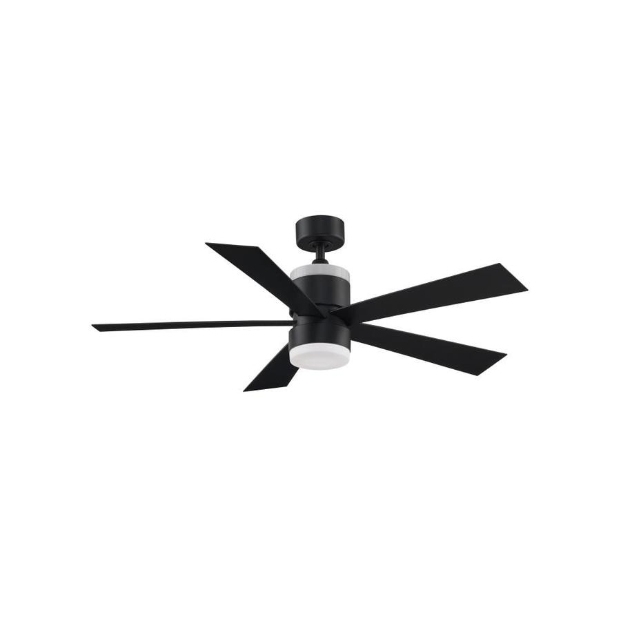 52 Ceiling Fan With Light Kit Indoor Outdoor Downrod: Fanimation Torch 52-in Black LED Indoor/Outdoor Downrod
