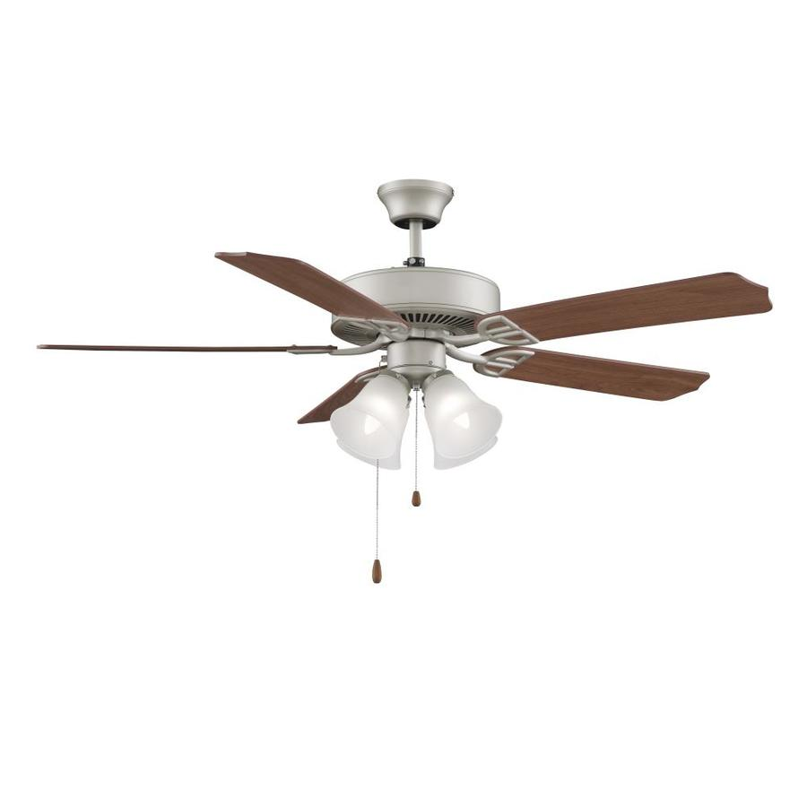 Fanimation Aire Decor 52 In Satin Nickel Led Indoor Smart Ceiling Fan With Light Kit 5 Blade In The Ceiling Fans Department At Lowes Com