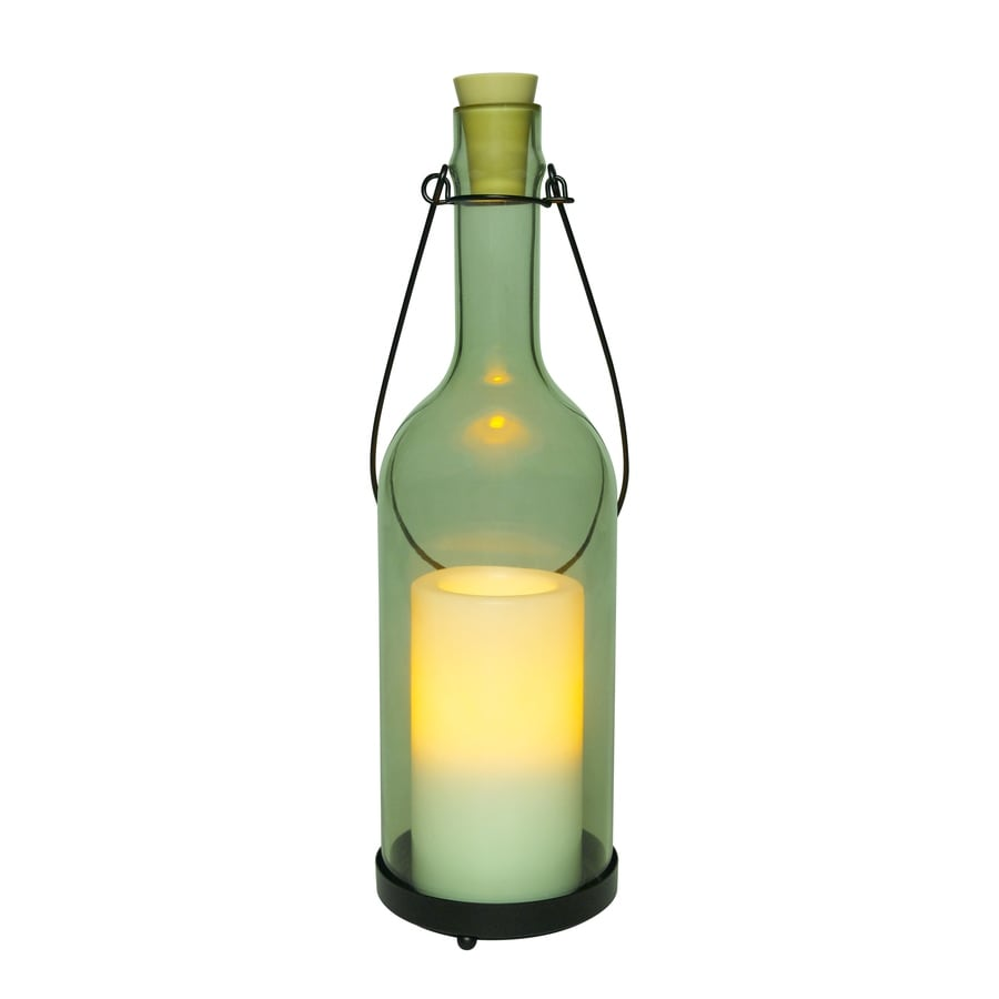 13.33-in Indoor/Outdoor Battery-Operated LED Clear Electric Jar Candle with Timer