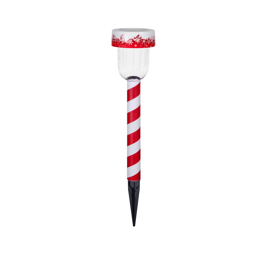 Holiday Living 1-Marker White LED Solar Candy Cane Christmas Pathway Marker