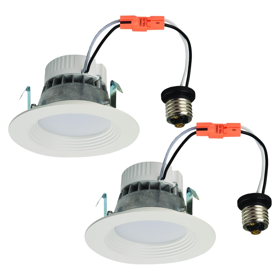 shop utilitech 2 pack 50 watt equivalent white dimmable led recessed retrofit downlights fits. Black Bedroom Furniture Sets. Home Design Ideas