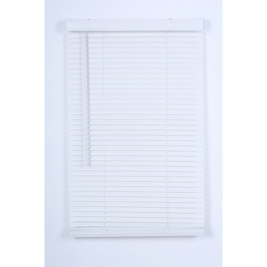 Project Source 1-in Cordless White Vinyl Light Filtering Mini-Blinds (Common 34-in; Actual: 33.5-in x 64-in)
