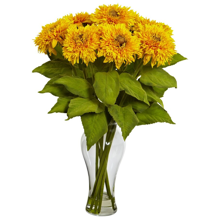 Nearly Natural 22.5-in Yellow Silk Arrangement