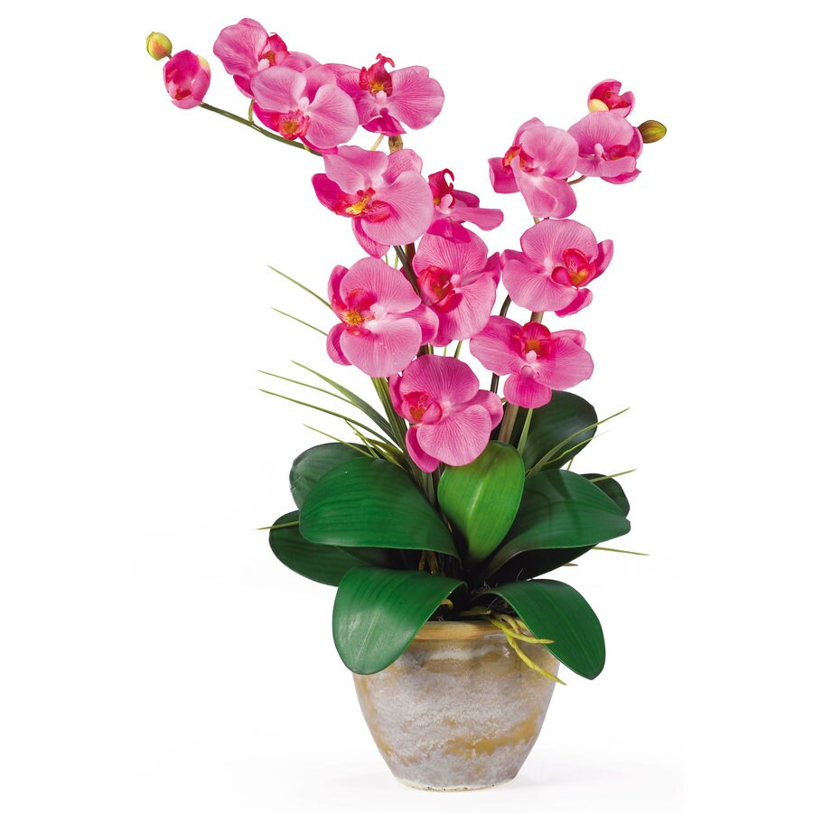 Nearly Natural 25-in Dark Pink Silk Arrangement