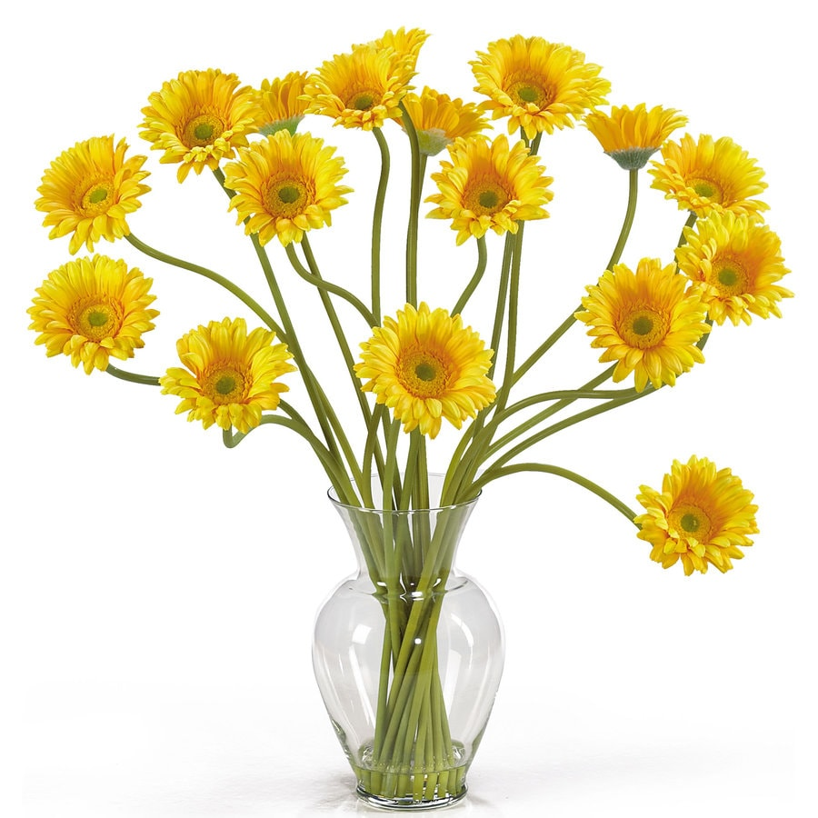 Nearly Natural 21-in Yellow Silk Arrangement