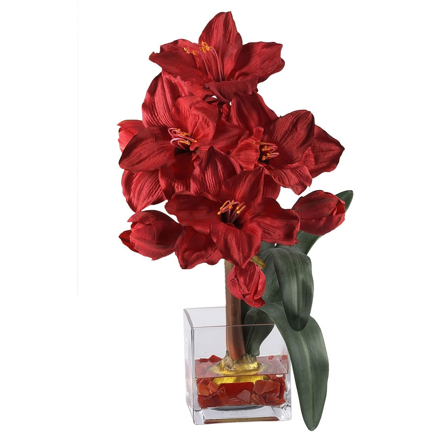 Nearly Natural 20-in Red Holiday Silk Arrangement