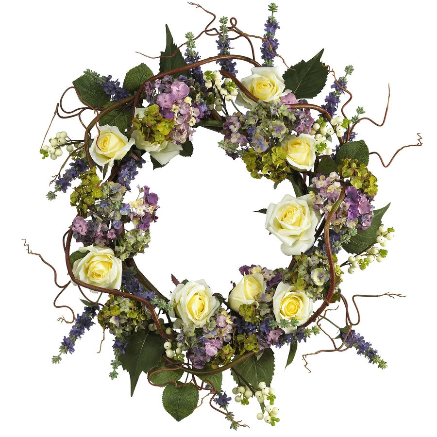Nearly Natural 24-in Mixed Wreath