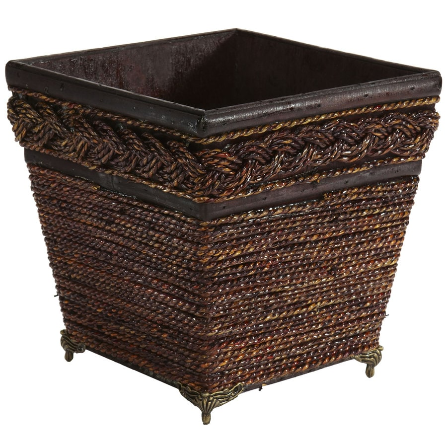 Nearly Natural 7.25-in x 7.25-in Brown Wood Woven Planter