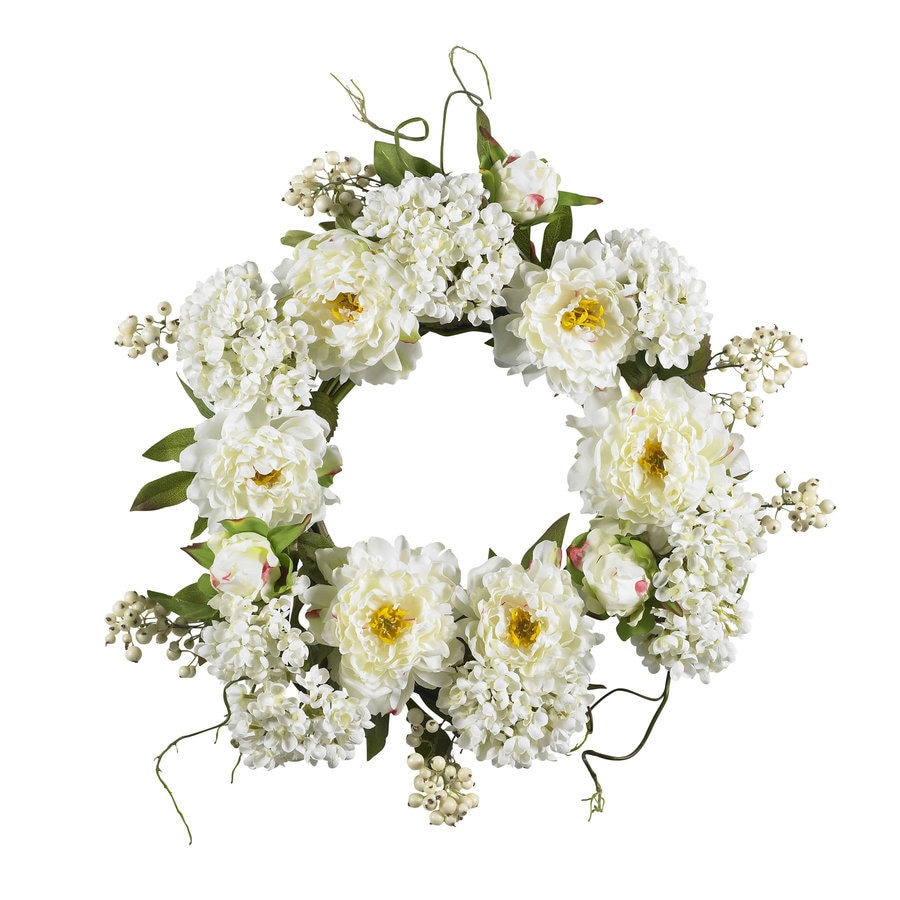 Nearly Natural 20-in White Wreath