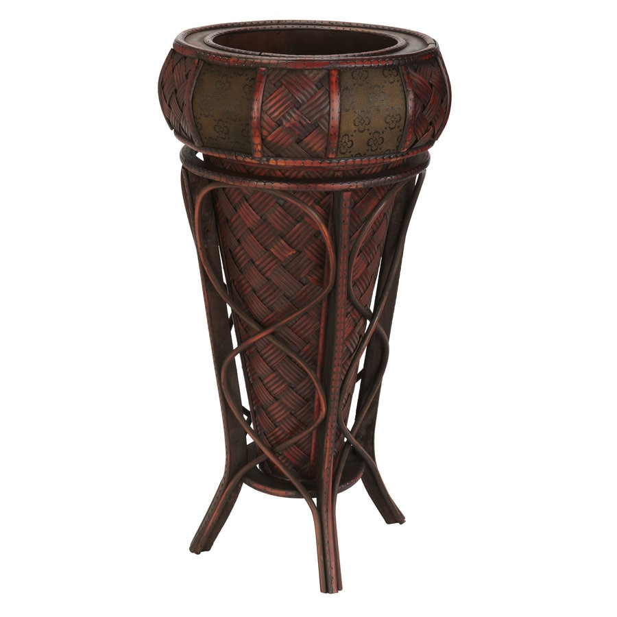 Nearly Natural 11.5-in x 22-in Brown Wood Round Planter