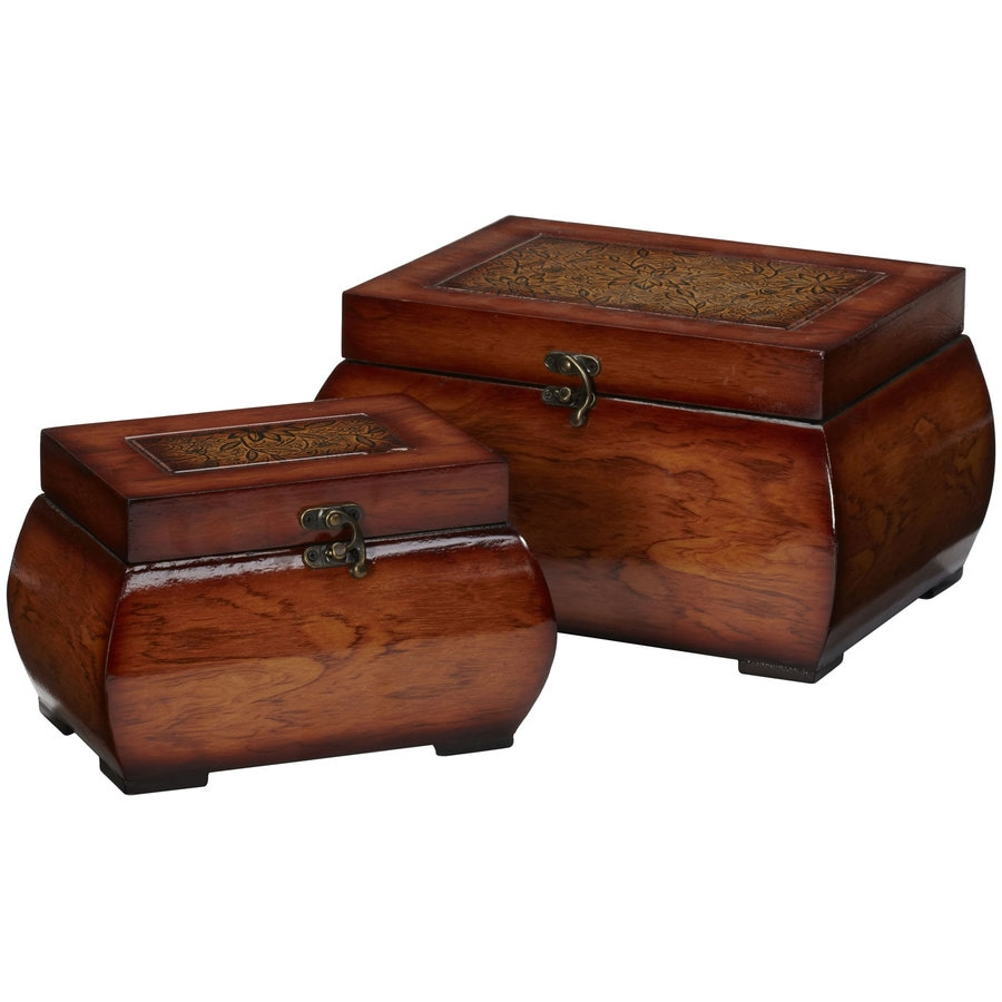 Nearly Natural 2-Pack 11.25-in x 6.5-in Brown Wood Rectangular Planter