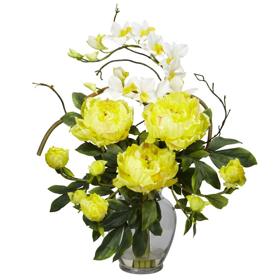 Nearly Natural 21.5-in Yellow Silk Arrangement