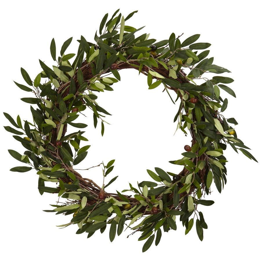 Nearly Natural 20-in Green Wreath