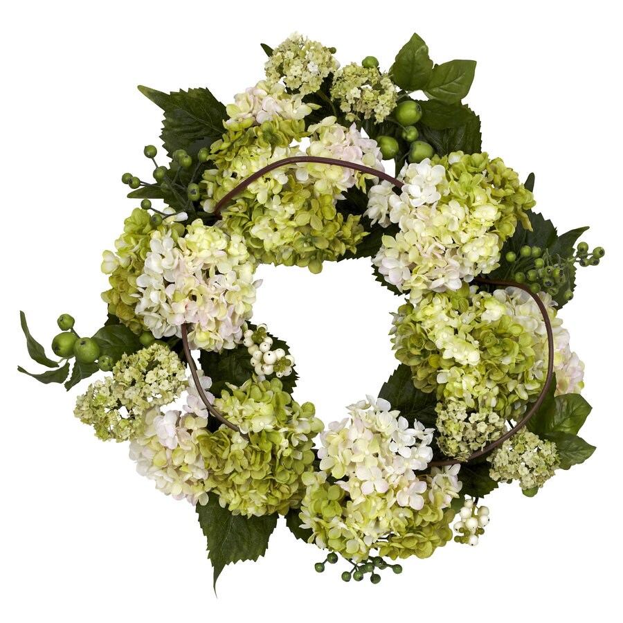 Nearly Natural 22-in Cream/Green Silk Wreath