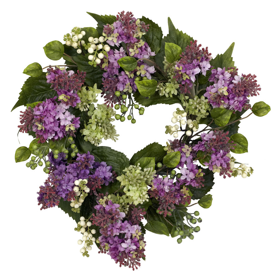 Nearly Natural 20-in Purple Silk Wreath