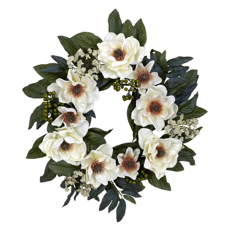 Nearly Natural 22-in White Silk Wreath