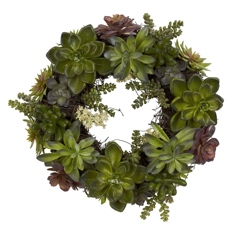 Nearly Natural 20-in Green Silk Wreath