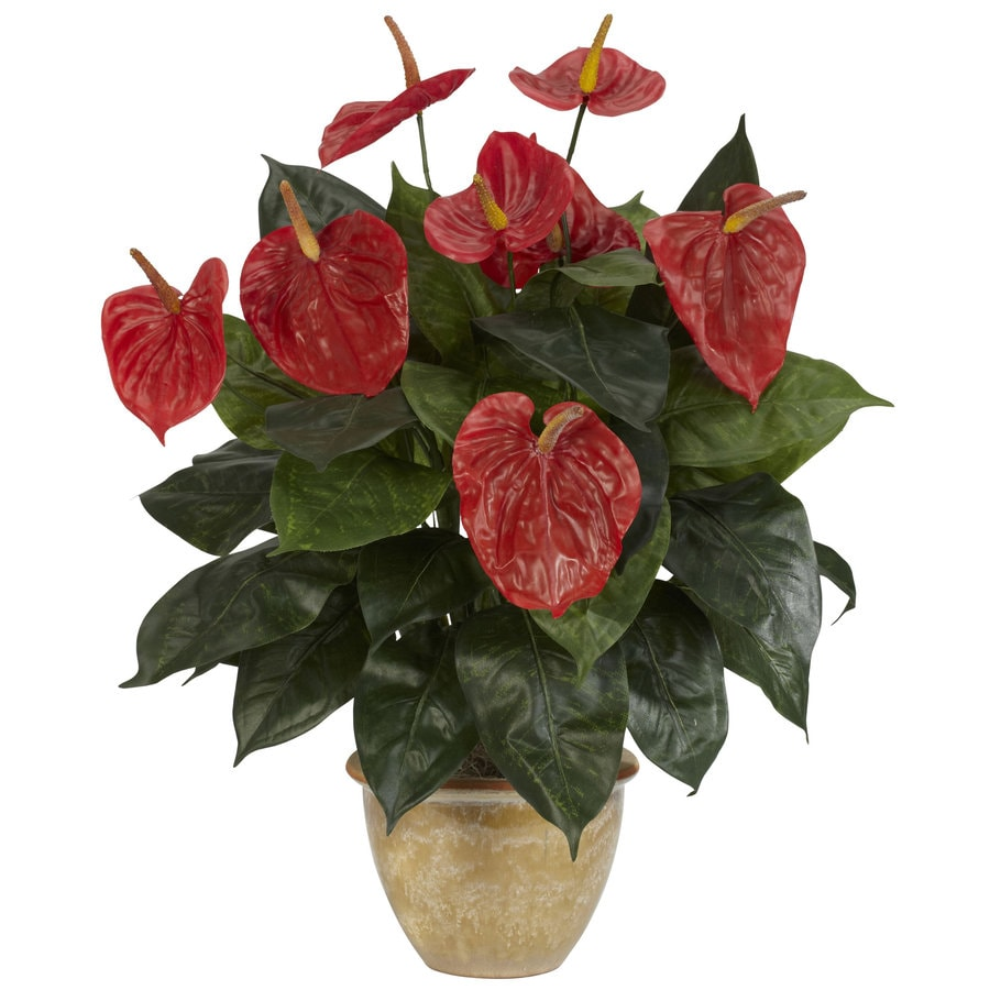 Nearly Natural 22.5-in Red Silk Plant