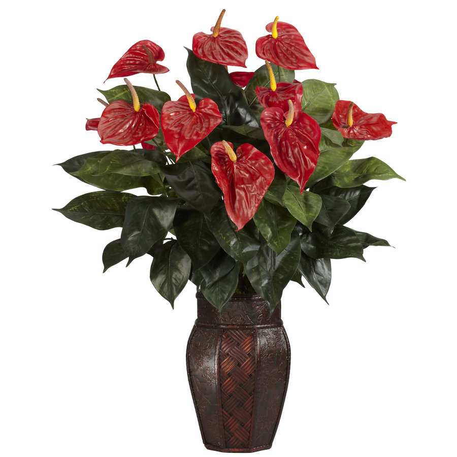 Nearly Natural 30-in Red Silk Plant