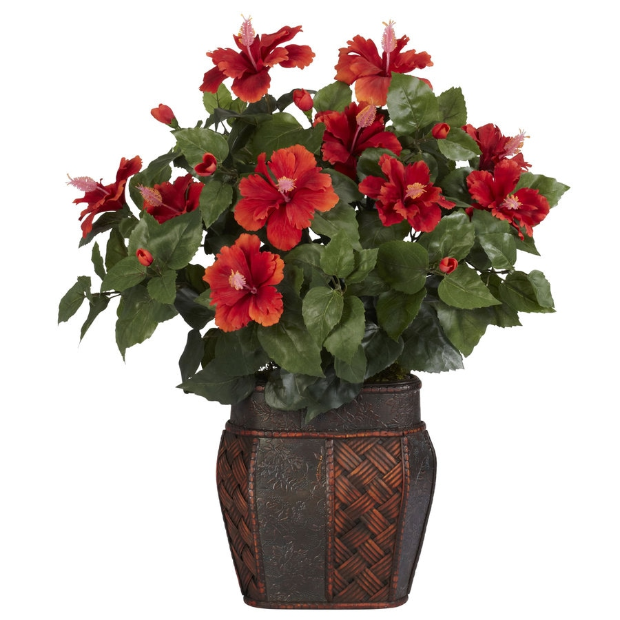 Nearly Natural 24-in Red Silk Plant