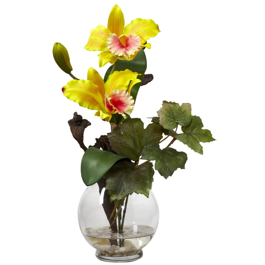 Nearly Natural 14.5-in Yellow Silk Arrangement