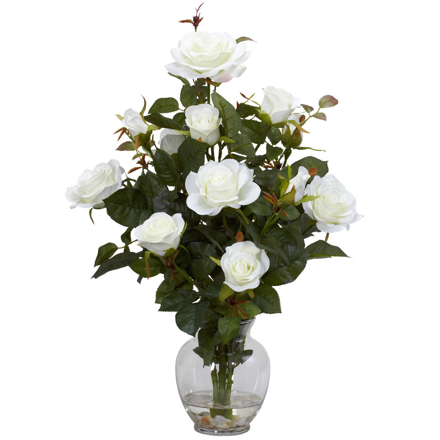Nearly Natural 22-in White Silk Arrangement