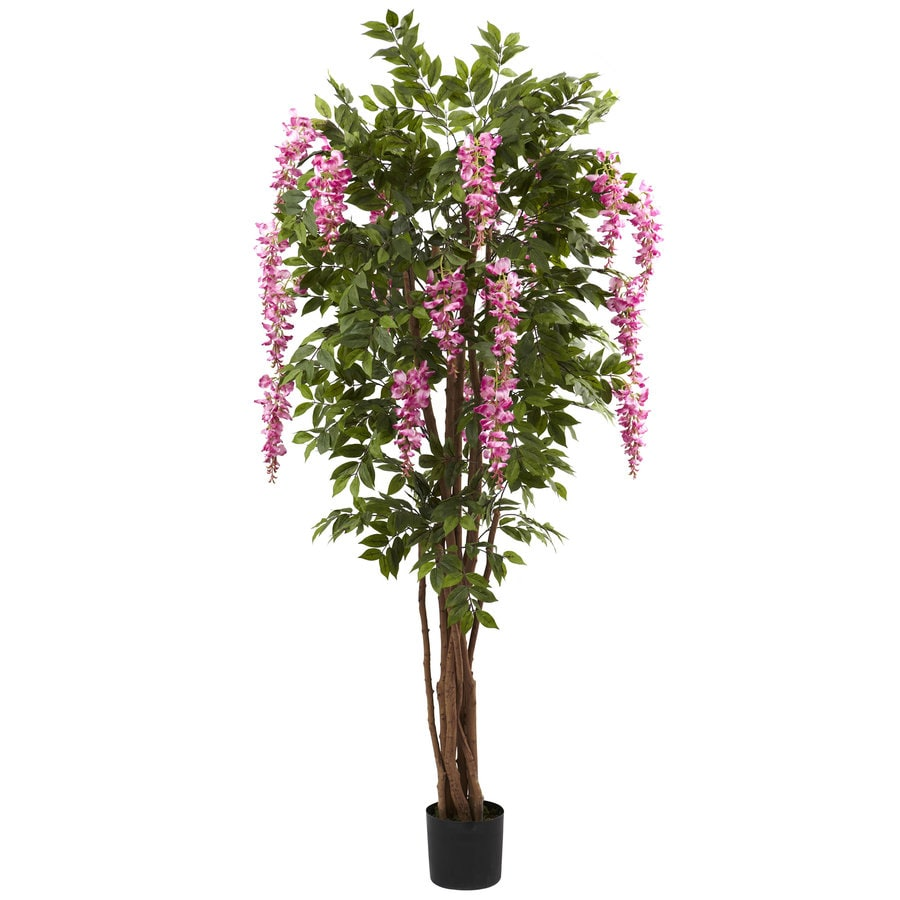 Nearly Natural 78-in Green/Pink Silk Tree