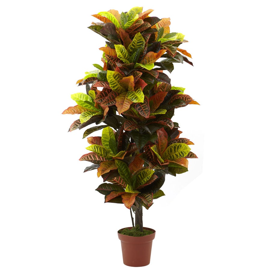 Nearly Natural 56-in Green/Orange Silk Plant