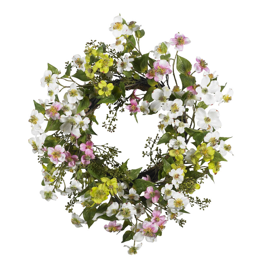 Nearly Natural 20-in Mixed Wreath