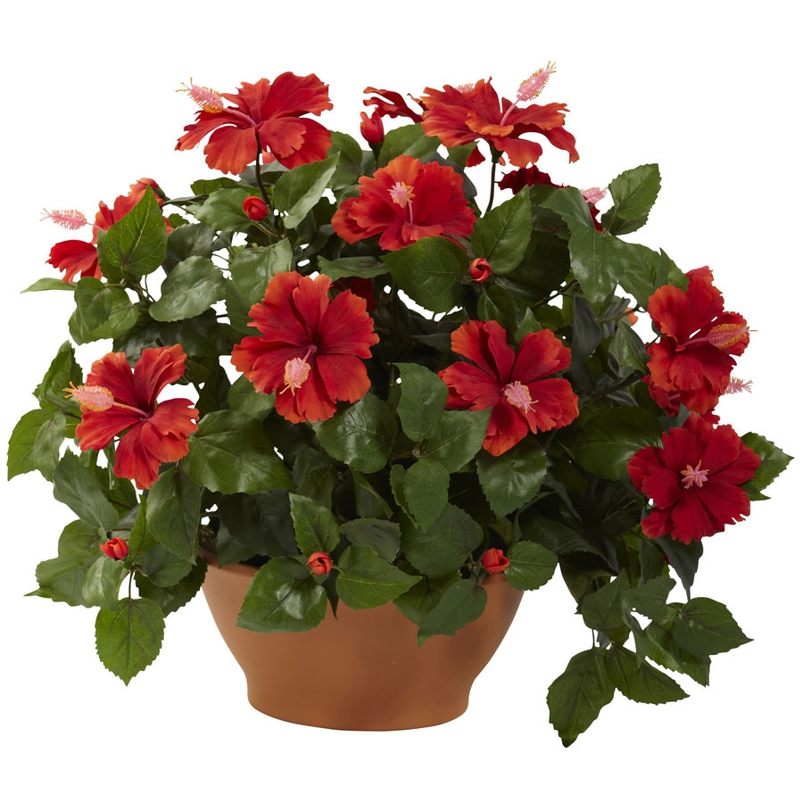 Nearly Natural 20-in Green/Red Silk Plant