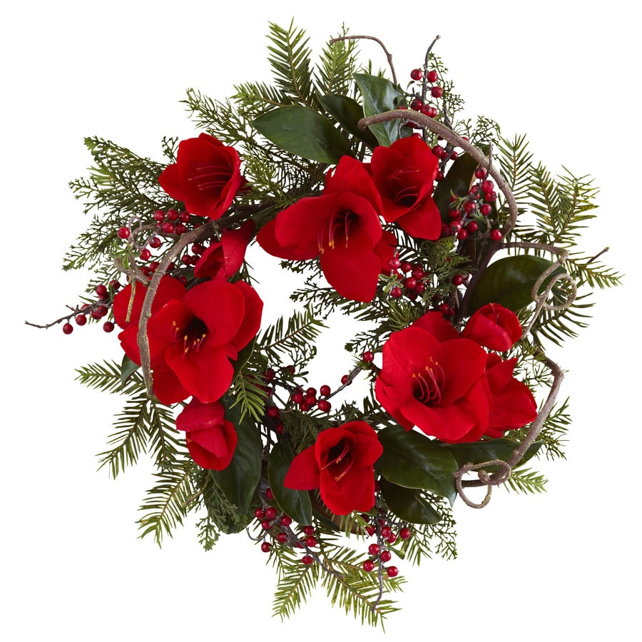 Nearly Natural 24-in Red Wreath