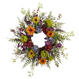Shop artificial plants at lowes nearly natural 24 in multigreen artificial wreath mightylinksfo Choice Image