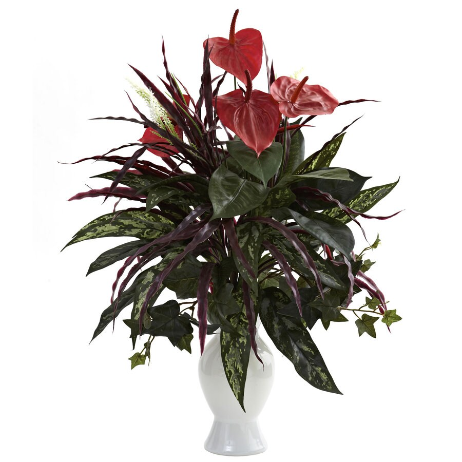 Nearly Natural 22-in Green/Red Silk Plant