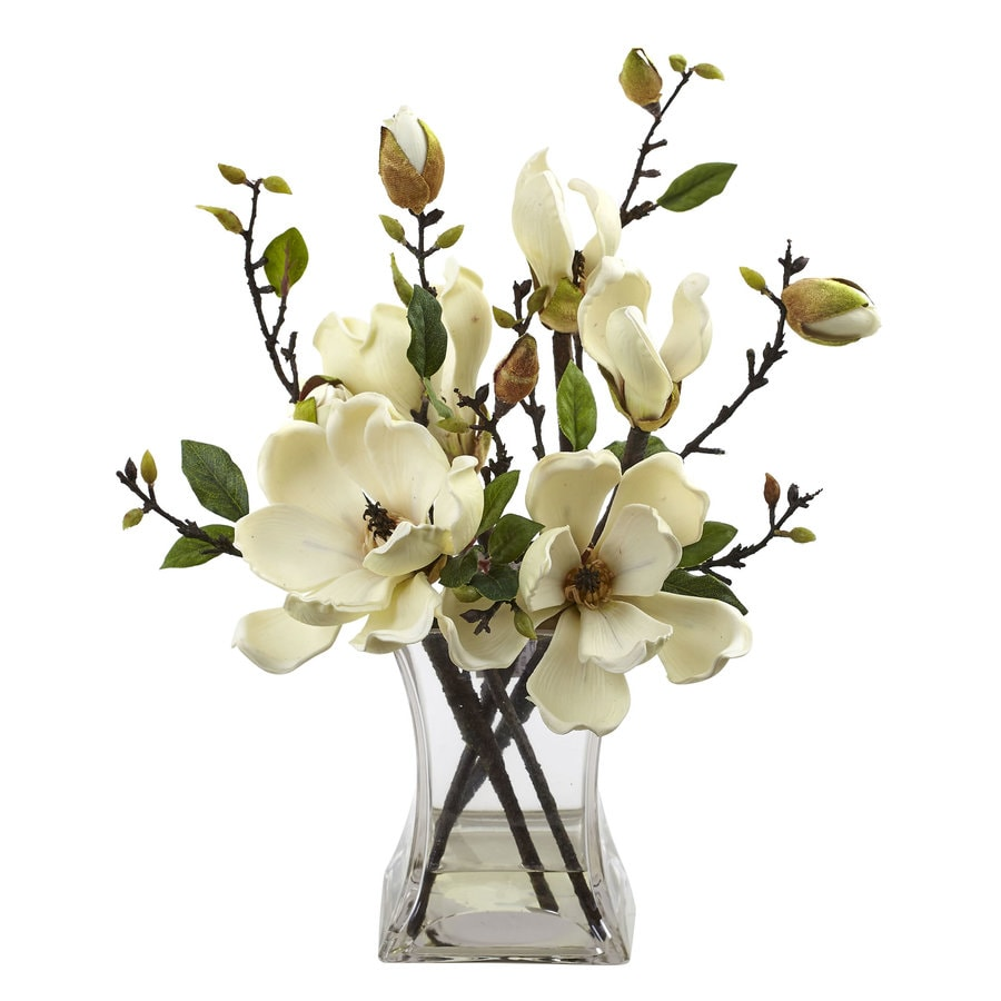 Nearly Natural 15-in White Magnolia