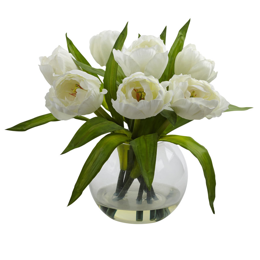 Nearly Natural 11-in White Tulips
