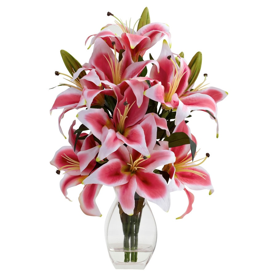 Nearly Natural 18.25-in Pink/White/Green Silk Arrangement