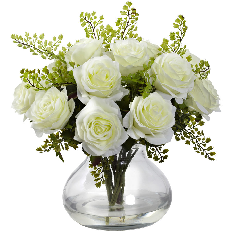Nearly Natural 14-in White Silk Arrangement