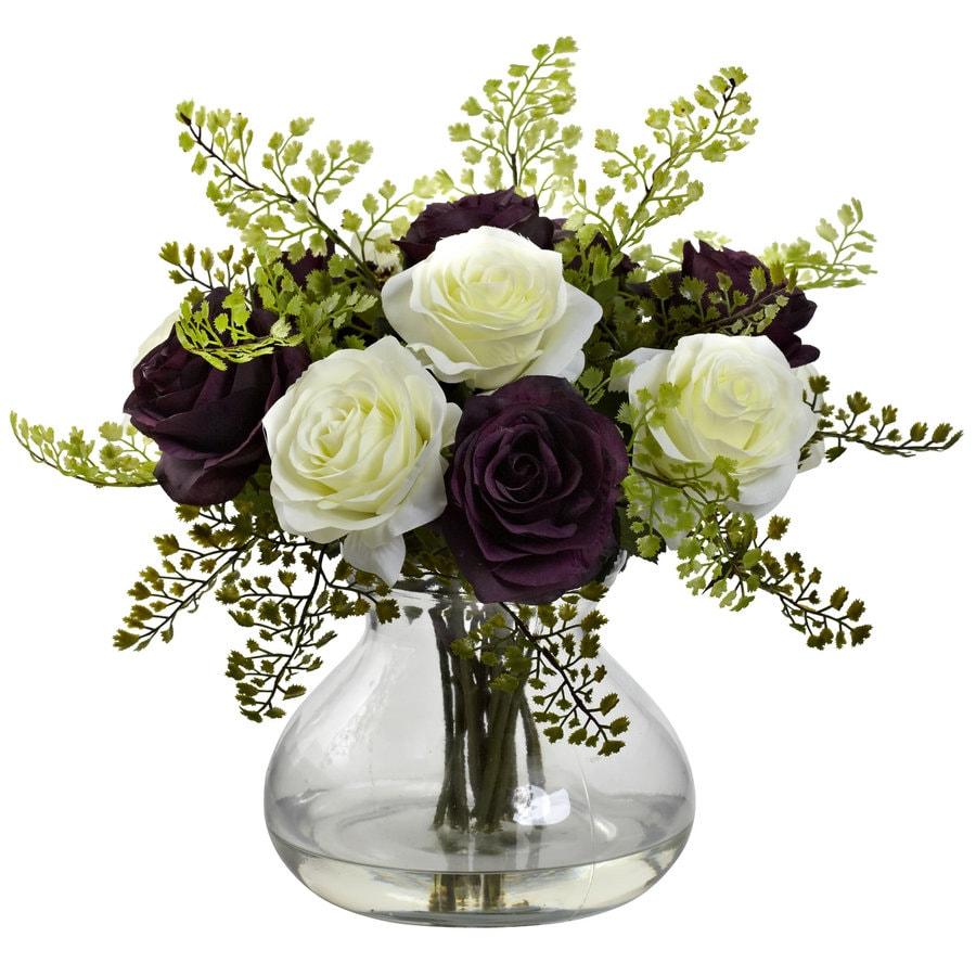 Nearly Natural 14-in Purple/White Silk Arrangement