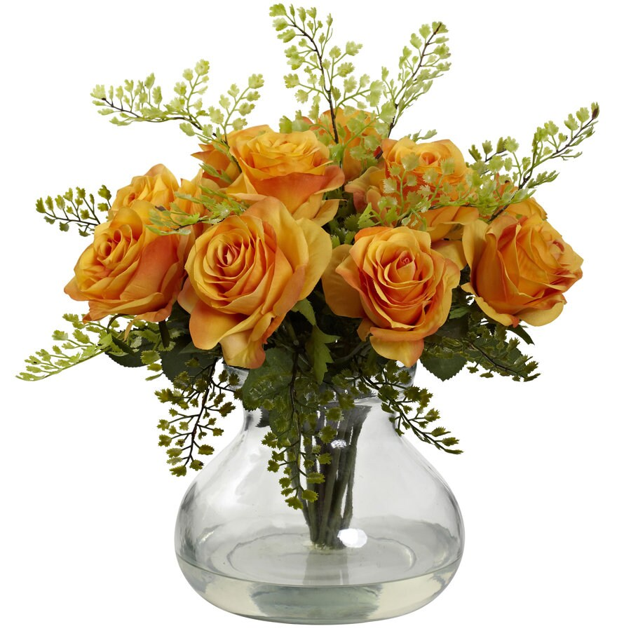 Nearly Natural 14-in Orange/Yellow Silk Arrangement