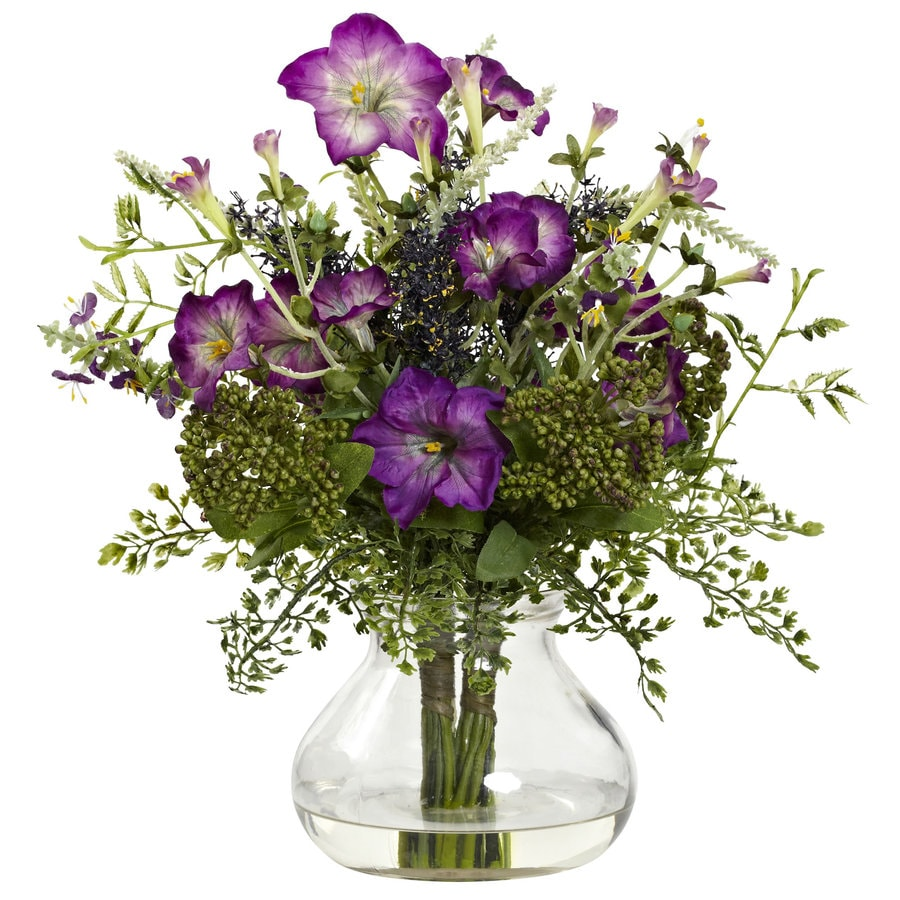 Nearly Natural 15-in Purple/Green Silk Arrangement