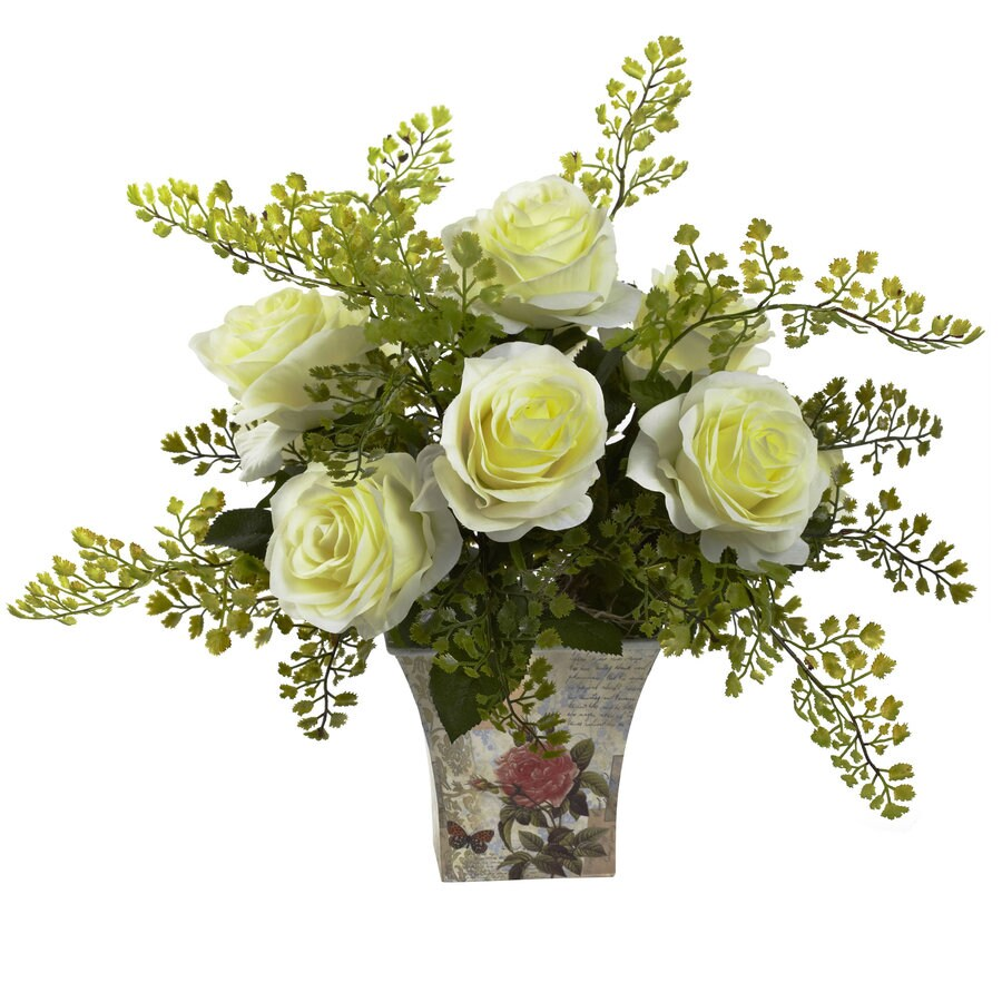 Nearly Natural 13-in White Silk Arrangement